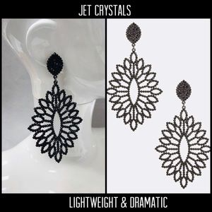 Large Statement Jet Black Crystal Earring, NWT